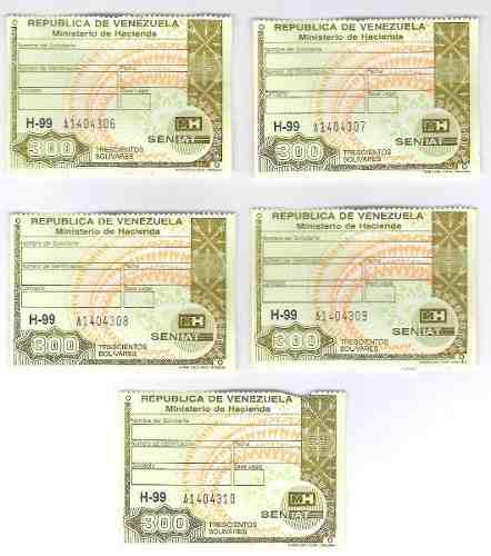 Timbres Fiscales De 300 Bolívares 5 Seriales Consecutivos