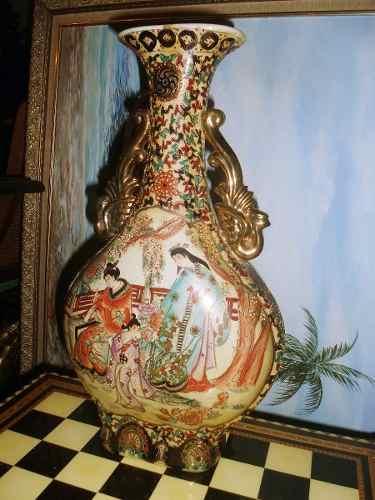 Anfora Antigua De Porcelana Marca Satsuma Pintado A Mano En