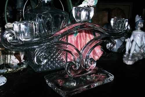 Antiguo Candelabro De Cristal De Tres Velas En Perfecto Esta