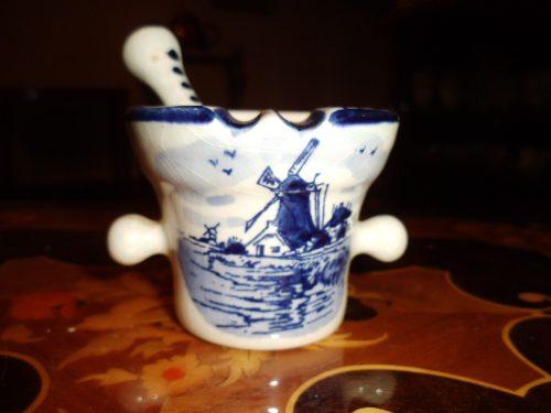 Antiguo Mortero De Porcelana Delft Con Dibujo Central Y Bell