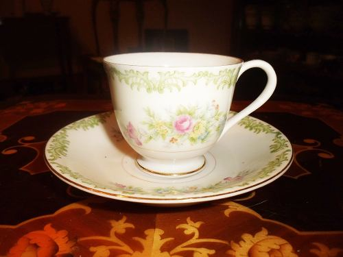 Antiguo Plato Y Taza De Porcelana Cherry China Con Bellos Di
