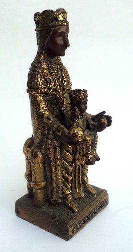 Bonita Figura Antigua De Bronce Pequeña Virgen De