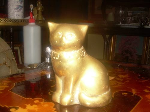 Figura Antigua De Bronce Gato Muy Bien Realizado En Buen Est