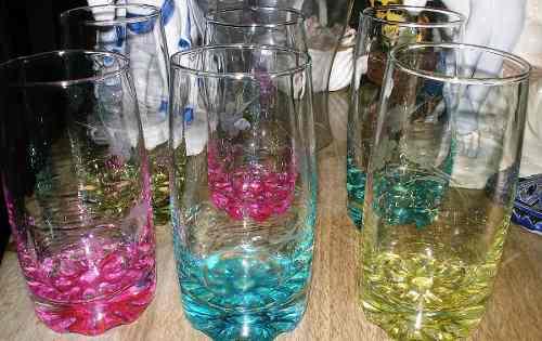 Juego De 6 Vasos De Cristal De Colores En Perfecto Estado