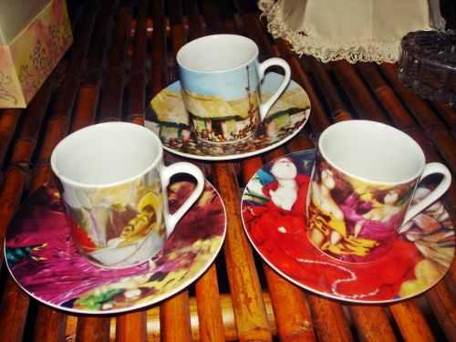 Juego De Tres Tazas De Cafe Expreso Coleccion Yoryi Morel Ar