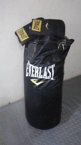 Saco De Boxeo Everlast Con Guantes Originales