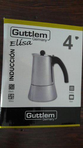 Cafetera Guttlem Greca Moka De Acero Inoxidable Para 4 Tazas