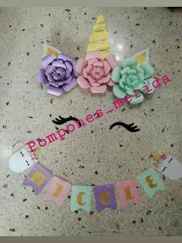 Combo Flores De Unicornio Flores 25cm De Papel De Cartulina