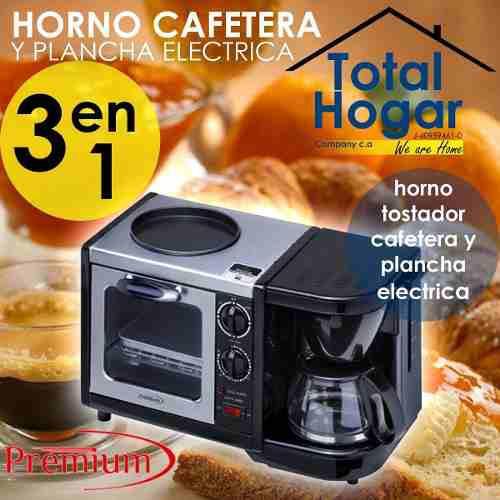 Horno Tostador Cafetera Y Plancha Electrica 3 En 1 Nuevo