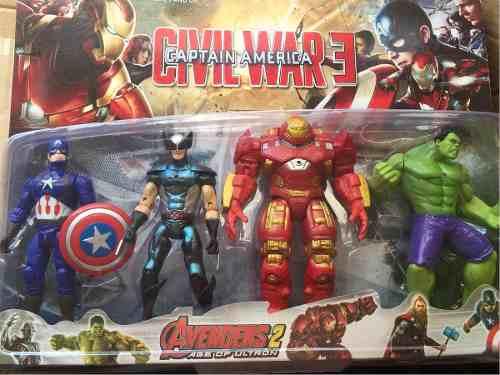 Juguete Avengers Set De 4 Thor Hulk Capitán America Iron