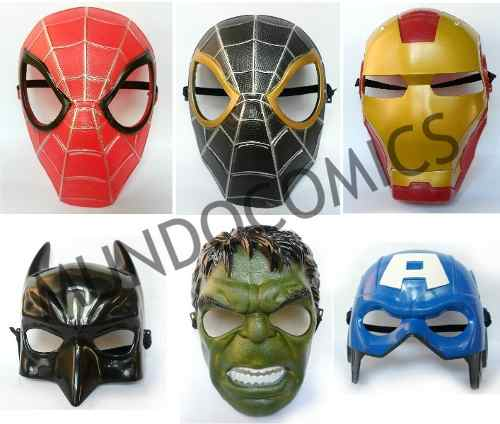 Mascaras De Super Heroes Plastico Pvc Para Niños