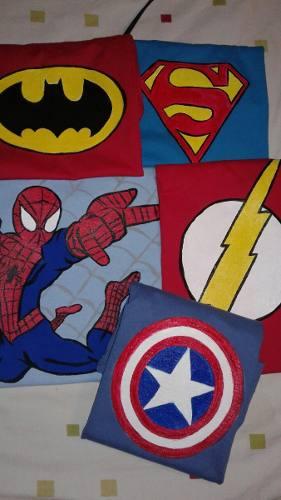 Camisas De Superheroes 100 % Algodpn Pintadas A Mano