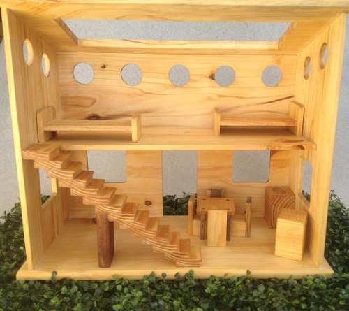 Casa De Muñecas En Madera Con Accesorios Juegos