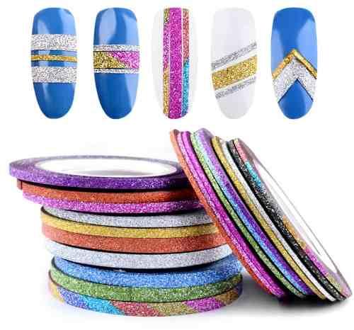 Hilos O Cintas Adhesivas Escarchadas Para Uñas 2mm Y 3mm