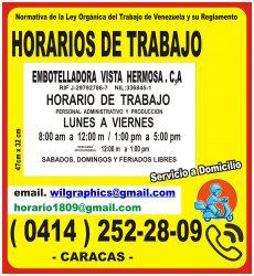 Impresión de carteles de horarios de trabajo (0414) 252