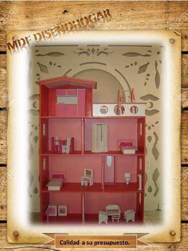 Mdf Casa De Muñecas De 4 Niveles En Crudo Sin Accesorios