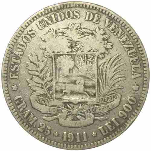 Moneda 5 Bolívares, Fuerte De  Fecha Ancha Vg/ Vg+