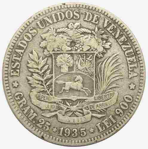 Moneda 5 Bolívares, Fuerte De Plata De  Vf/ Vf-