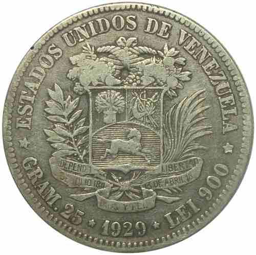 Moneda 5 Bolívares, Fuerte  Fecha Ancha Vf-