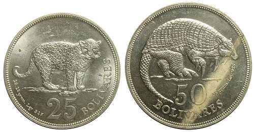 Pareja Monedas De Plata Conmemorativas 25 Y 50 Bs De