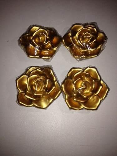 Set De 4 Velas En Forma De Flores