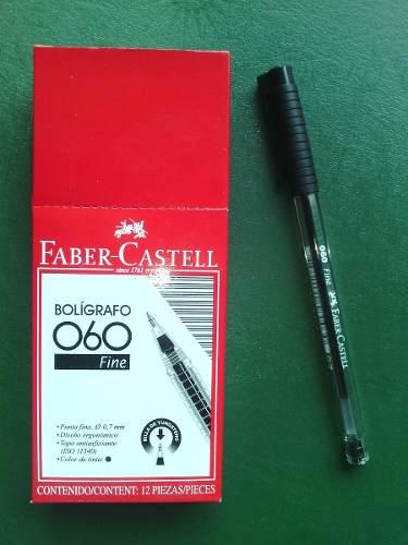 Bolígrafo Faber Castell 060 Punta Fina Color Negro Cajax12