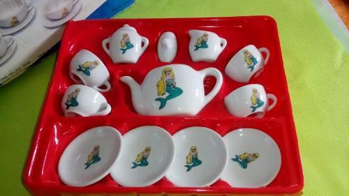Juego De Tazas La Sirenita De Porcelana Para Niñas.