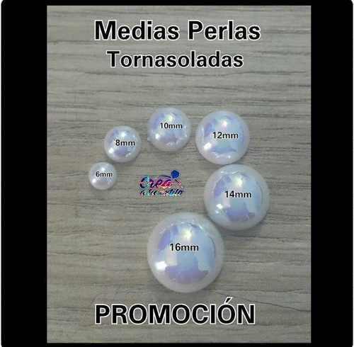 Medias Perlas Tornasol Para Bisuteria 6mm, 100 Und