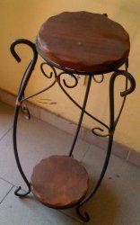 Mesa en madera tipo saman y hierro forjado (para telefonera,