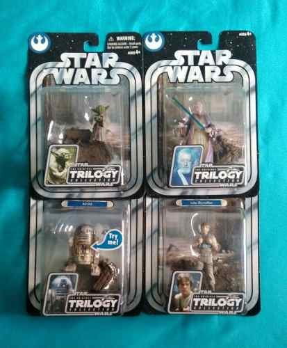 Combo Star Wars Otc Dagobah Figura Muñeco Luke Yoda Obi