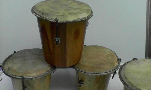 Tambor De Madera Con Parche De Cuero Instrumento D Percusion