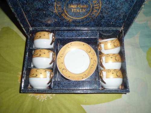 Juego De Tazas 12 Pcs Finas Porcelana Italiana 24cc Gold