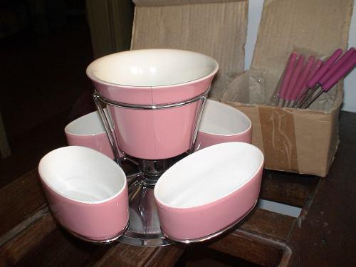 Set De Fondue, En Ceramica Y Acero Inoxidable X 15 Piezas