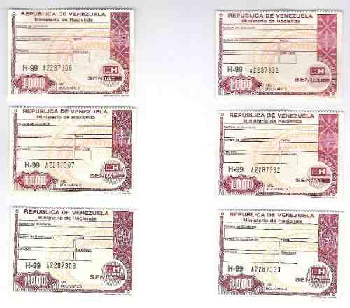 Timbres Fiscales De  Bolívares 3 Seriales Consecutivos