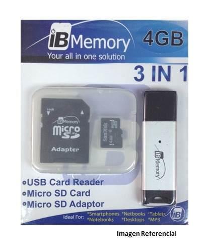 Memoria Micro Sd 4gb Con Lector De Memoria 3 En 1 Tt
