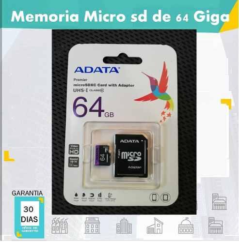 Memoria Micro Sd Adata 64 Gb Premier Clasemb/s