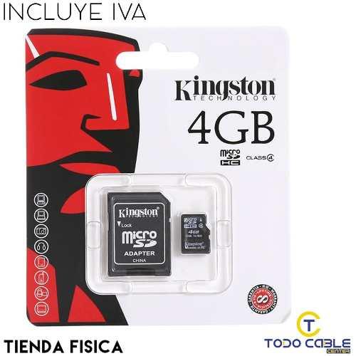 Memoria Micro Sd Kingston De 4gb Alta Calidad Somos Tienda