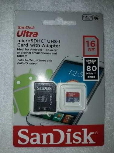 Memoria Sd Sandisk 16 Gb Clase 10
