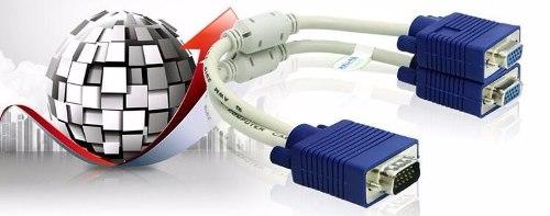 Cable Splitter Vga Svga Macho A 2 Hembra Video Pc Dos Filtro