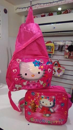 Bolso Morral Hello Kitty+ Lonchera Termica