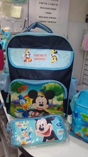 Combo Morral Escolar Mickey Mouse
