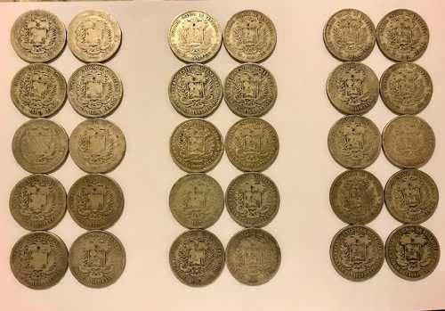 Lote 47 Monedas De Plata Fuertes Venezolanos Lei 900
