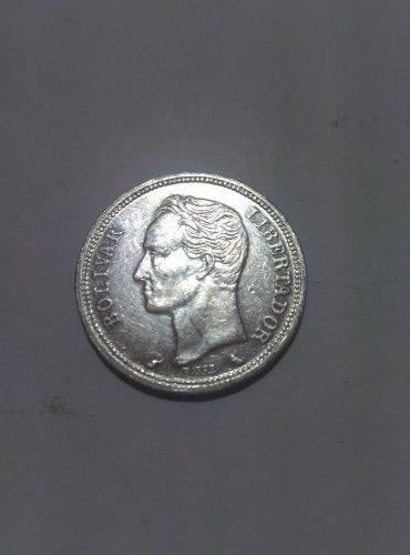 Moneda De Un Bolivar De Plata, De . Gr 5, Lei 835.