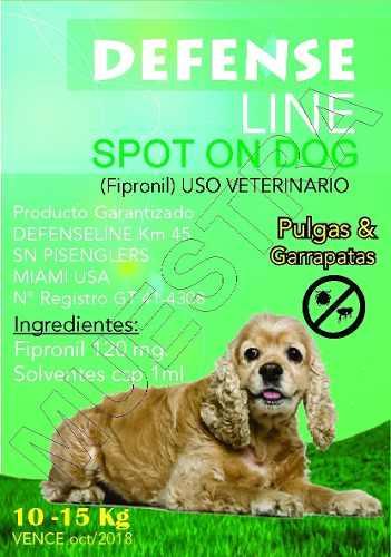 Pipeta Anti Garrapatas Defense Line Perros De 10 A 15 Kg.
