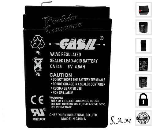 Potente Pila Bateria De Acido Plomo 6v 4.5ah 24hs De Carga