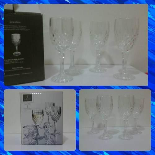 Set De 4 Copas Labradas De Cristal Marca Gibson