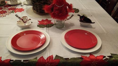 Vajilla De Navidad 4 Puestos Blanco Y Rojo 20 Dls