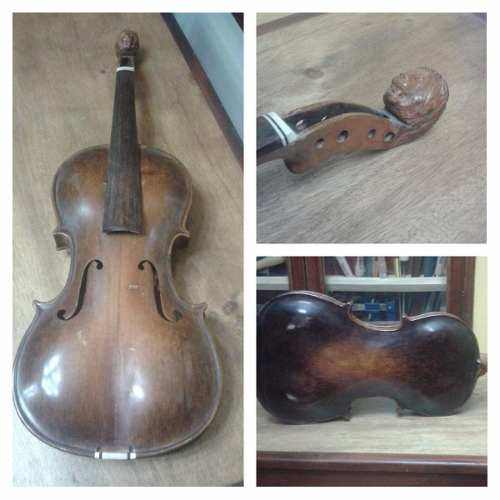Violin Antiguo Cabeza De Leon Hecho A Mano Espectacular