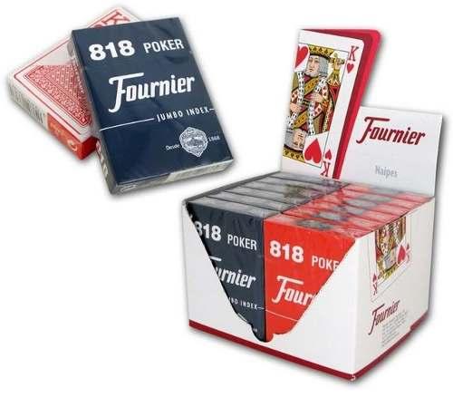 Mazo Juego De 55 Cartas Fournier Poker 818 Azul Y Roja S6