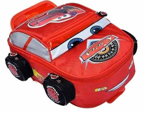 Bolso O Morral Escolar De Cars 3d Original Grande Y Pequeño